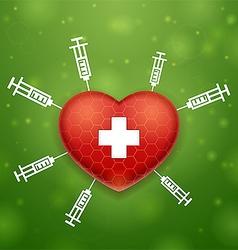 Heart and cross vector