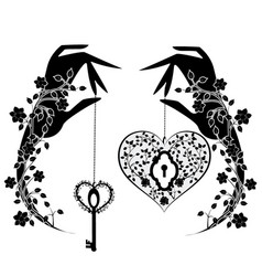 heart with key and flowers vector image