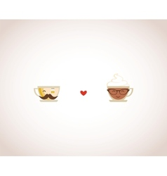 Hypster coffee and tea cups Happy Valentines vector