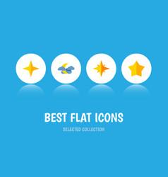 Icon flat midnight set of starlet asterisk night vector