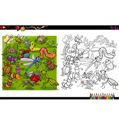 insect characters coloring book vector image