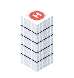 Isometric skyscraper with helipad building icon vector