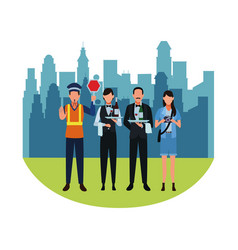 Jobs and professions avatars over cityscape vector