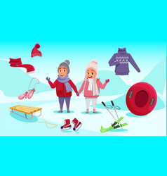 kids on winter vacation flat vector image
