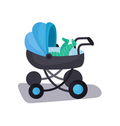 Little baby lying in a blue modern baby pram vector