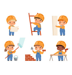 little builders kids construction childrens vector image