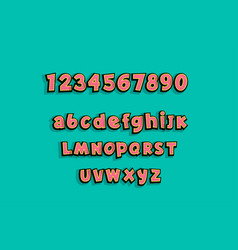 lowercase comic book text alphabet pop art vector image