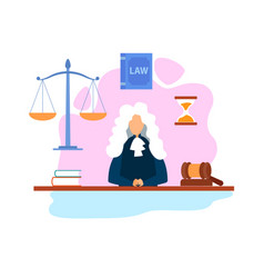 Magistrate in courtroom flat vector