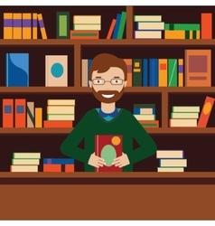 Man on background with bookcase Librarian or vector