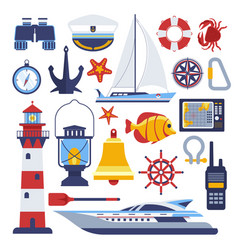 Marine and nautical flat icons vector