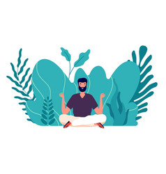 Meditation concept man healed energy balance and vector