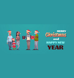 men giving present gift boxes to women multi vector image