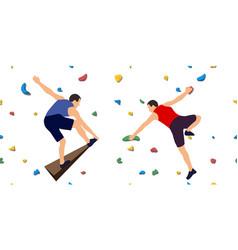 men on a climbing wall vector image