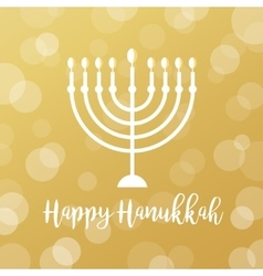 Menorah Candles on Golden Bokeh Background Happy vector