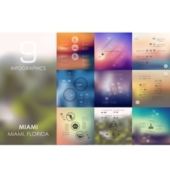 Miami infographic with unfocused background vector image