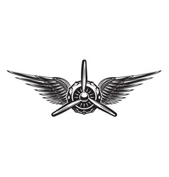 Monochrome retro banner with propeller and wings vector
