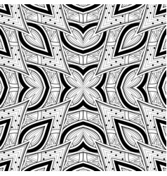 monochrome seamless pattern with floral ethnic vector image