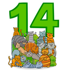 Number fourteen and cartoon cats group vector