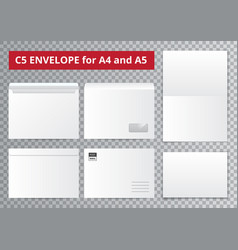 Office envelopes transparent collection vector