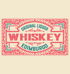 Old label design for whiskey and wine labe vector