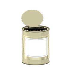 open cans isolated opened tin bank on white vector image
