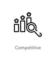 Outline competitive icon isolated black simple vector