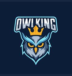 owl king mascot logo esport vector image