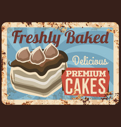 pasty shop confectionery cakes rusty metal plate vector image