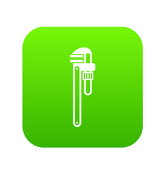 pipe or monkey wrench icon digital green vector image