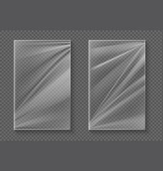 Plastic foil transparent cellophane wrap mockup vector
