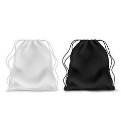 realistic knapsack black white blank backpack vector image