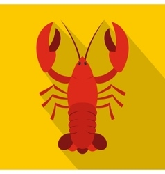 Red crayfish icon flat style vector