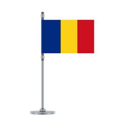Romanian flag on the metallic pole vector