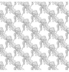 seamless pattern with flower ink sketch vector image