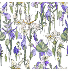 Seamless pattern with iris and herbs endless vector