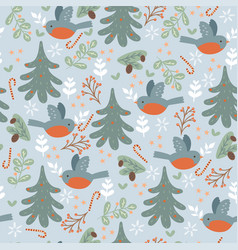 seamless pattern with winter birds and christmas vector image