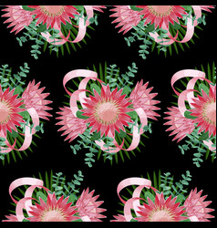 seamless pattern withtropical wedding bouquet vector image