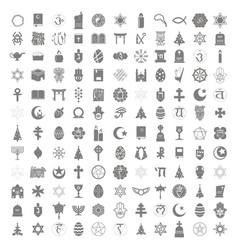 set of monochrome icons with religious symbols vector image
