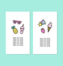 set two card templates modern pins vector image
