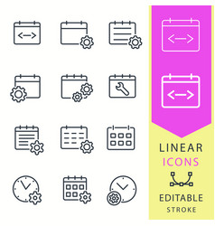 settings calendar - line icon set editable vector image