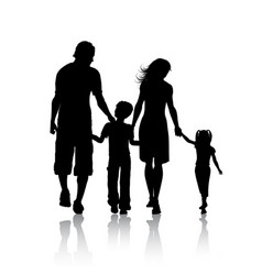 silhouette of a family vector image