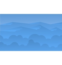Silhouette of beautiful hill and blue sky vector