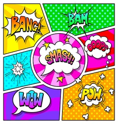Speech bubbles and sound effects on comic book vector