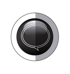 Sticker black circular frame with speech bubble vector