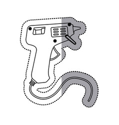 Sticker silhouette electric glue gun icon tool vector