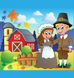 Thanksgiving pilgrim theme 2 vector