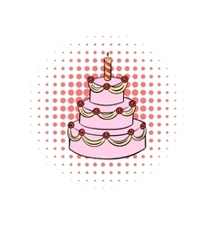 Three-tiered birthday cake with candle comics icon vector image