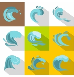 Tide icons set flat style vector