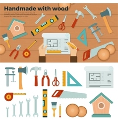 Tools for handmade with wood hobconcept vector