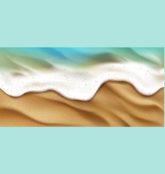 top view sea wave with foam splashing on beach vector image